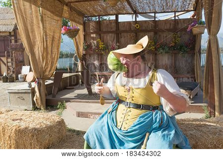 Participant Wearing Vintage Clothes, Eating Watermelon