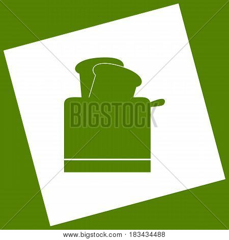 Toaster simple sign. Vector. White icon obtained as a result of subtraction rotated square and path. Avocado background.