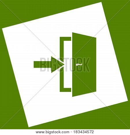 Door Exit sign. Vector. White icon obtained as a result of subtraction rotated square and path. Avocado background.