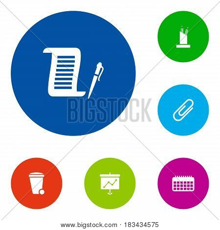 Set Of 6 Service Icons Set.Collection Of Contract, Clip, Pencil Stand Elements.