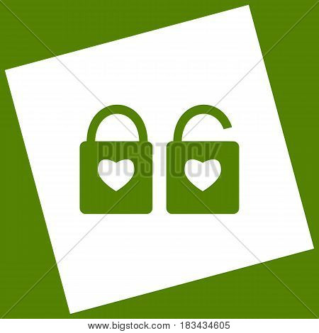 lock sign with heart shape. A simple silhouette of the lock. Shape of a heart. Vector. White icon obtained as a result of subtraction rotated square and path. Avocado background.