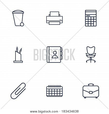 Set Of 9 Service Outline Icons Set.Collection Of Workplace, Fastener Paper, Telephone Directory And Other Elements.