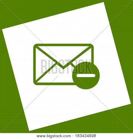 Mail sign illustration with remove mark. Vector. White icon obtained as a result of subtraction rotated square and path. Avocado background.