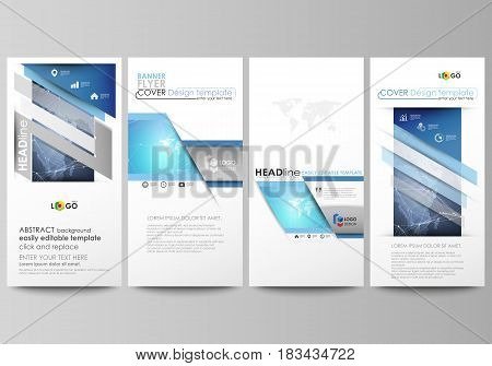 The minimalistic abstract vector illustration of the editable layout of four modern vertical banners, flyers design business templates. Abstract global design. Chemistry pattern, molecule structure