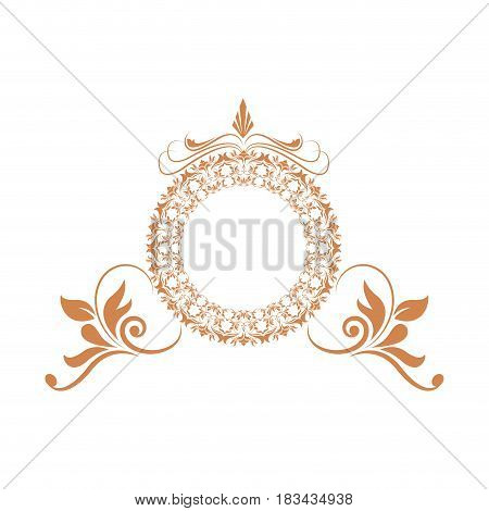 elegant round decorative frame flourish calligraphy golden vector illustration