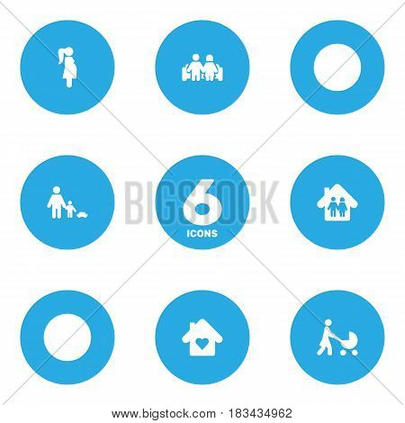 Set Of 6 People Icons Set.Collection Of Expectant Mother, Perambulator, Father With Son And Other Elements.
