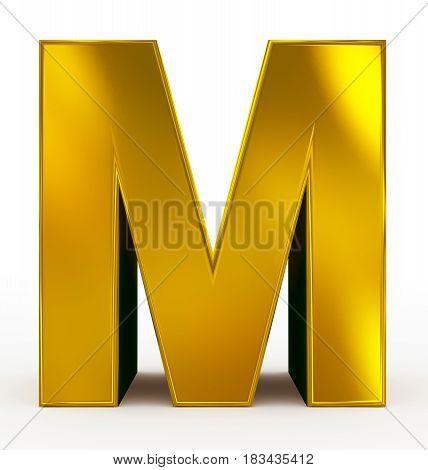 Letter M 3D Golden Isolated On White