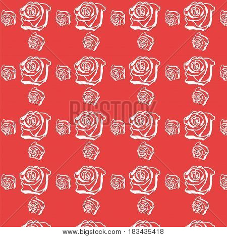 white rose on red background, seamless floral pattern