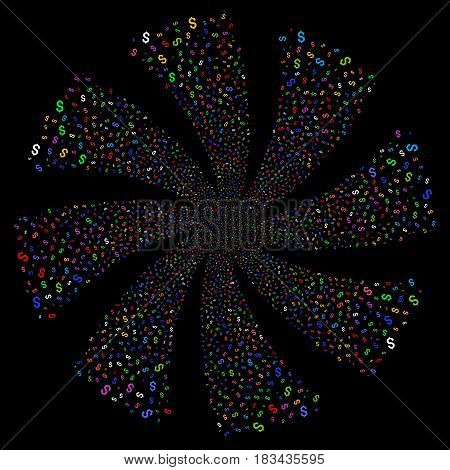 Dollar fireworks swirl rotation. Vector illustration style is flat bright multicolored iconic symbols on a black background. Object flower created from random pictographs.