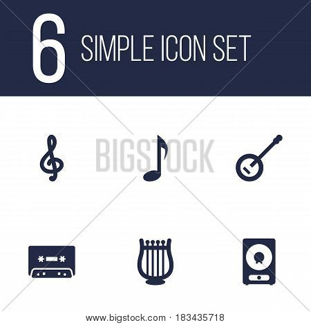 Set Of 6 Melody Icons Set.Collection Of Banjo, Amplifier, Tone Symbol And Other Elements.