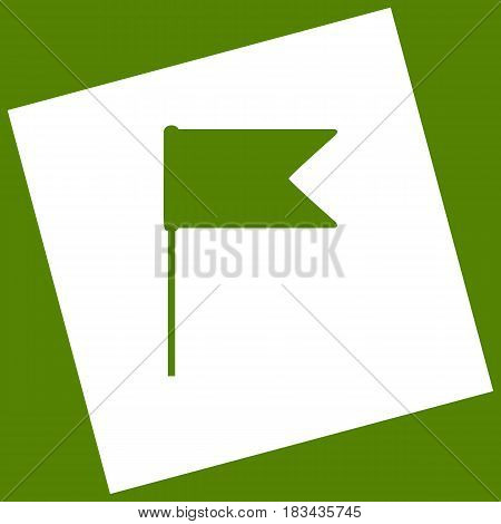 Flag sign illustration. Vector. White icon obtained as a result of subtraction rotated square and path. Avocado background.