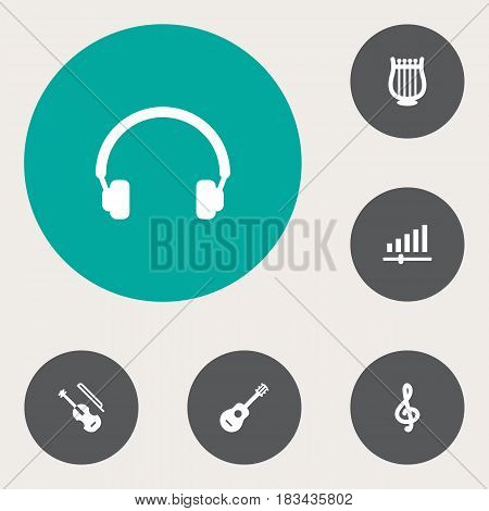 Set Of 6 Melody Icons Set.Collection Of Earphones, Knob, Acoustic And Other Elements.