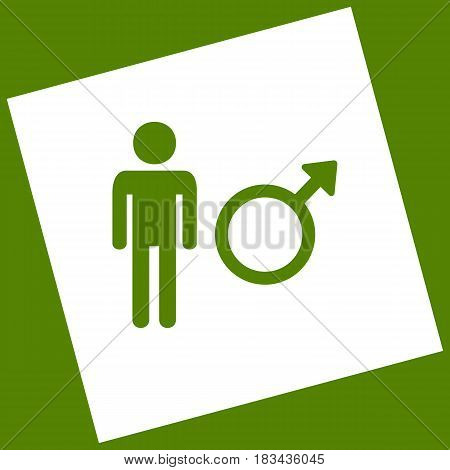 Male sign illustration. Vector. White icon obtained as a result of subtraction rotated square and path. Avocado background.