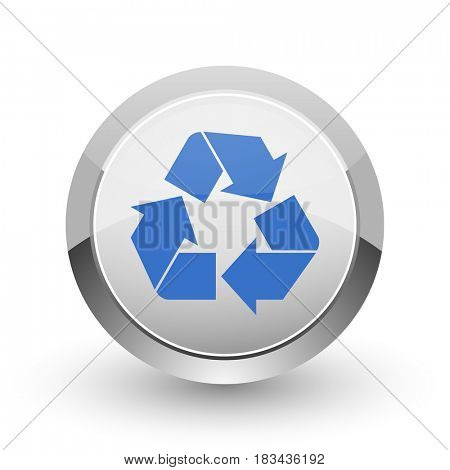 Recycle chrome border web and smartphone apps design round glossy icon.