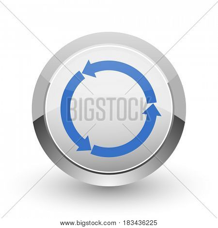 Re blue  glossy web chrome border web and smartphone apps design round glossy icon.