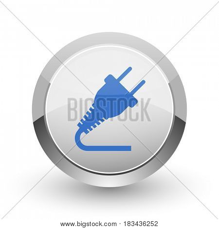 Plug chrome border web and smartphone apps design round glossy icon.
