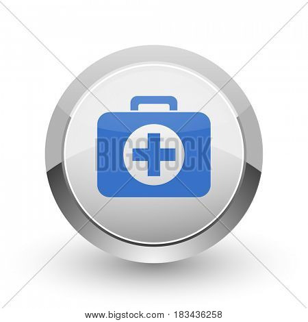 First aid chrome border web and smartphone apps design round glossy icon.