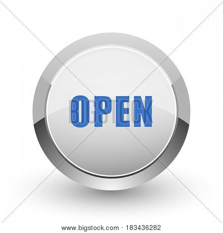 Open chrome border web and smartphone apps design round glossy icon.