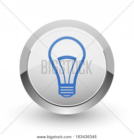 Bulb chrome border web and smartphone apps design round glossy icon.