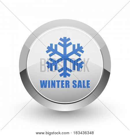 Winter sale chrome border web and smartphone apps design round glossy icon.