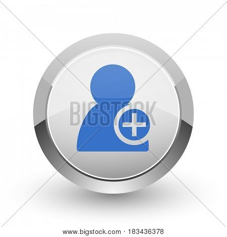 Add contact chrome border web and smartphone apps design round glossy icon.