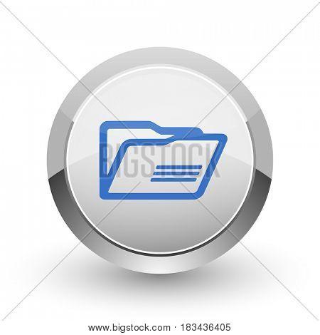 Folder chrome border web and smartphone apps design round glossy icon.