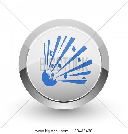 Bomb chrome border web and smartphone apps design round glossy icon.