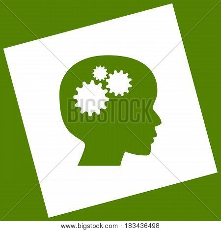 Thinking head sign. Vector. White icon obtained as a result of subtraction rotated square and path. Avocado background.