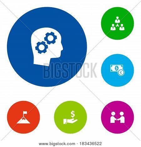 Set Of 6 Strategy Icons Set.Collection Of Unity, Thinking Head, Meeting And Other Elements.