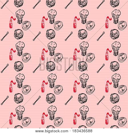 Seamless pink pattern with Cosmetics. Background for woman