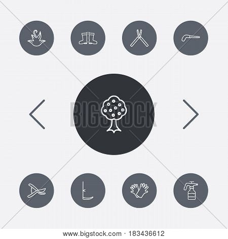 Set Of 9 Farm Outline Icons Set.Collection Of Atomizer, Herb, Scythe And Other Elements.