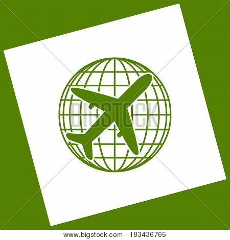 Globe and plane travel sign. Vector. White icon obtained as a result of subtraction rotated square and path. Avocado background.