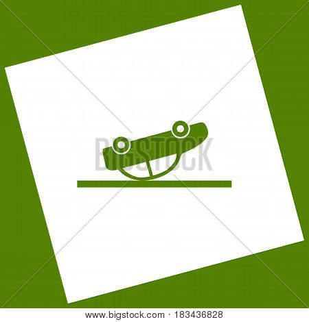 Crashed Car sign. Vector. White icon obtained as a result of subtraction rotated square and path. Avocado background.