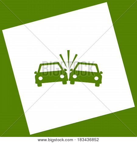 Crashed Cars sign. Vector. White icon obtained as a result of subtraction rotated square and path. Avocado background.