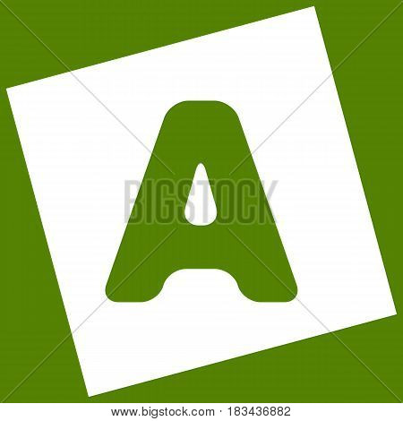 Letter A sign design template element. Vector. White icon obtained as a result of subtraction rotated square and path. Avocado background.