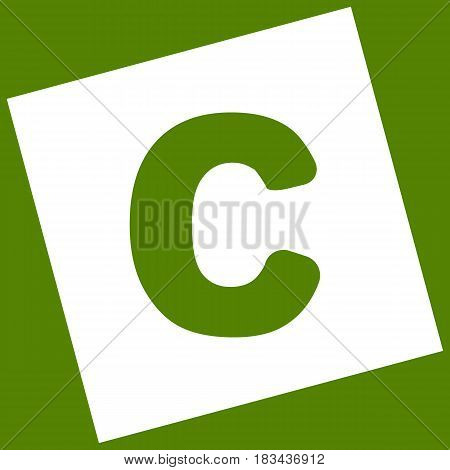 Letter C sign design template element. Vector. White icon obtained as a result of subtraction rotated square and path. Avocado background.