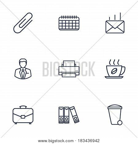 Set Of 9 Work Outline Icons Set.Collection Of Date, Administrator, Fastener Paper And Other Elements.
