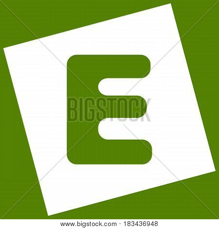 Letter E sign design template element. Vector. White icon obtained as a result of subtraction rotated square and path. Avocado background.