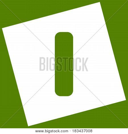 Letter I sign design template element. Vector. White icon obtained as a result of subtraction rotated square and path. Avocado background.