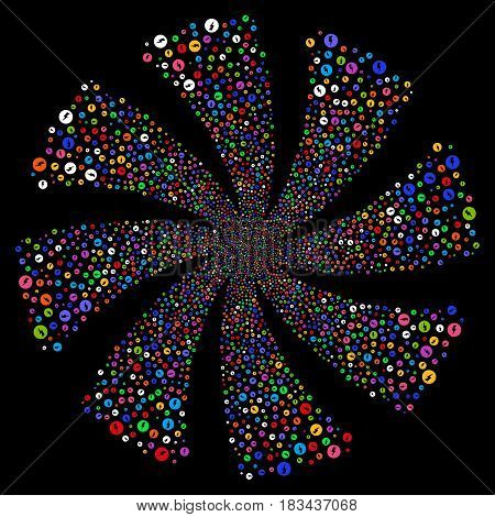 Electricity fireworks swirl rotation. Vector illustration style is flat bright multicolored iconic symbols on a black background. Object whirlpool created from random symbols.