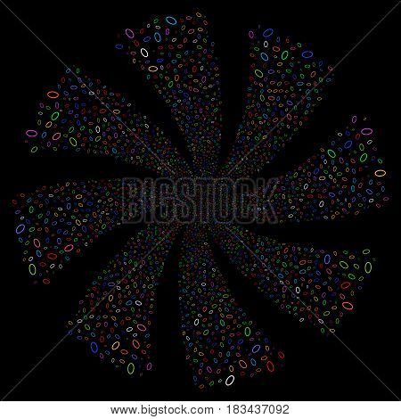 Ellipse Bubble fireworks swirl rotation. Vector illustration style is flat bright multicolored iconic symbols on a black background. Object twirl created from random symbols.