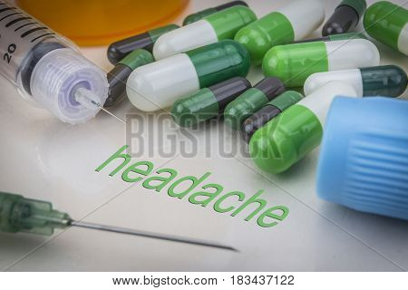 Headache, Medicines And Syringes As Concept Of Ordinary Treatment Health