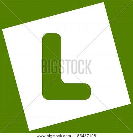 Letter L sign design template element. Vector. White icon obtained as a result of subtraction rotated square and path. Avocado background.