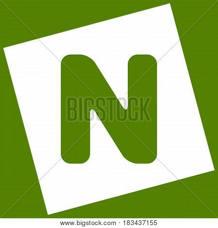 Letter N sign design template element. Vector. White icon obtained as a result of subtraction rotated square and path. Avocado background.