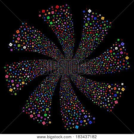 Error fireworks swirl rotation. Vector illustration style is flat bright multicolored iconic symbols on a black background. Object flower organized from random icons.