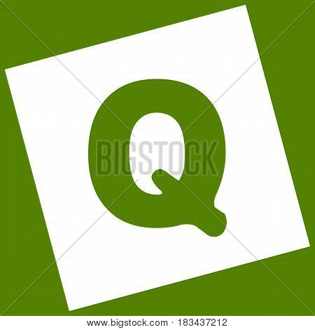 Letter Q sign design template element. Vector. White icon obtained as a result of subtraction rotated square and path. Avocado background.