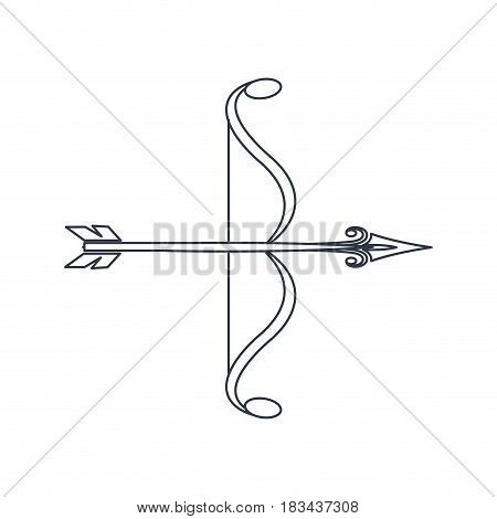 bow arrow ornate decorative element line vector illustration
