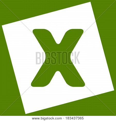 Letter X sign design template element. Vector. White icon obtained as a result of subtraction rotated square and path. Avocado background.