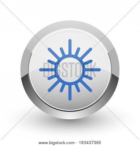 Sun chrome border web and smartphone apps design round glossy icon.