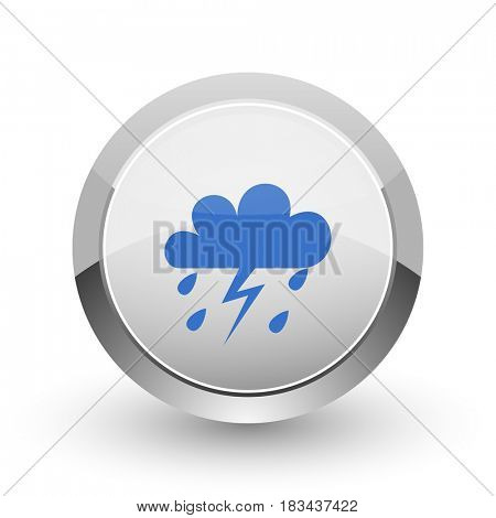 Storm chrome border web and smartphone apps design round glossy icon.